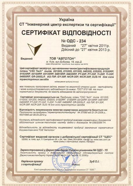 Сертификат соответствия для ГАИ